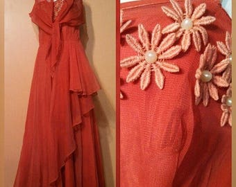 50s Coral Prom Dress / Pearl Flowers / Tiered Ruffle side Formal Gown / With original Shawl scarf