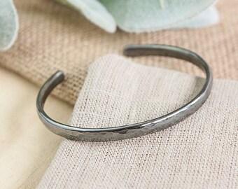 Mens Cuff Bracelet Heavy Sterling Silver Oxidized Snake Effect