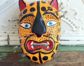Vintage Carved Wood Wooden Cat Kitty Mask Folk Art Brightly Painted Quills Fur