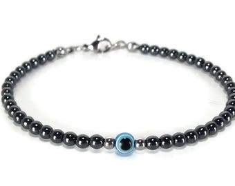Evil eye hematite bracelet - stainless steel - protection - Greek jewelry - Minimalist bracelet - Lucky charm - evil eye jewelry