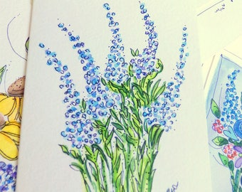 "Tiny Lavender Note Watercolor Original ""Little Card"" 31/2"" x 47/8"" Watercolor Card and Envelope Inside etrueoriginals"