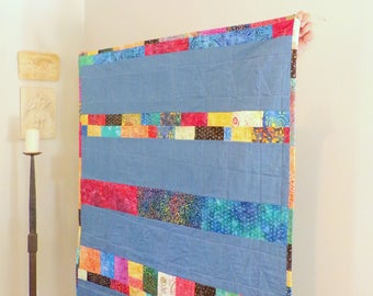 "Batik Baby Boy Or Girl Quilt ""Chappaqua Memories"" Baby Quilt, Wall Hanging, Accent Throw 49"" Wide x 53"" Long Batik Cottons betrueoriginals"