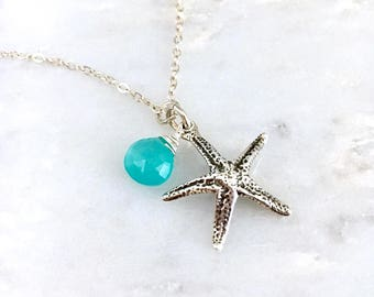 Starfish Beach Necklace. Blue Green Chalcedony Gemstone Pendant. Sterling Silver Beach themed wedding necklace