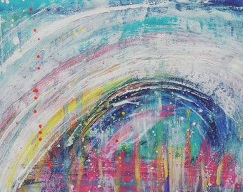 The White Rainbow - ORIGINAL art work in rainbow colours with hints of white.