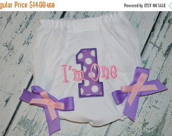 ON SALE 1st Birthday Bloomers, Personalized Baby Bloomers, Birthday Diaper Cover
