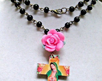 Our Lady of Guadalupe necklace rosary style catholic Virgin Virgen de Guadalupe latin hispanic altered art mexican