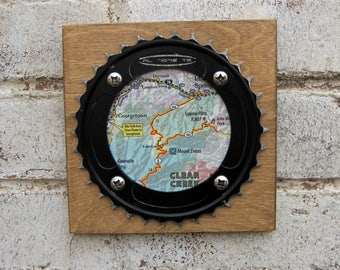 """6""""x6"""" Recycled Bicycle Chainring Clear Creek Plaque"""