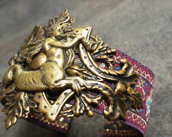 Mythology Jewelry Ichthyocentaur Brass Cuff Bracelet