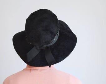 Summer Sale - 1960s Black Floppy Faux Fur Hat