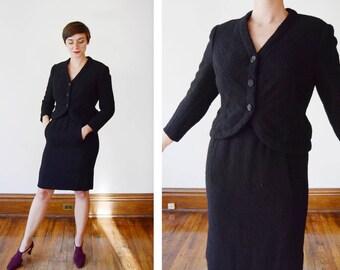 Late 50s Adele Simpson Black Boucle Wool Skirt Suit - S