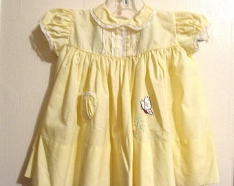 Vintage Baby Girl, Infant Yellow Dress Embroidered Butterfly