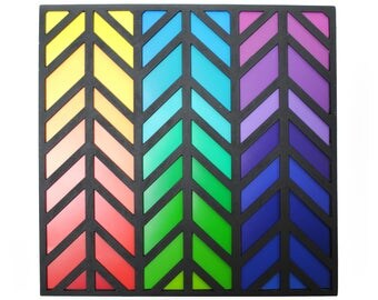 colorful CHEVRON art- made from paint swatches, rainbow, color wheel, modern decor, interior design, bold colors, colorful, unique, gorgeous