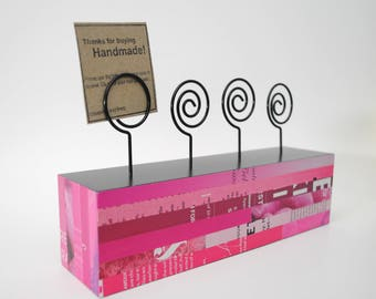 PINK photo holder- made with recycled magazines- neutral colors, unique, photo display block, wood block, recycled, bright colors,girls room