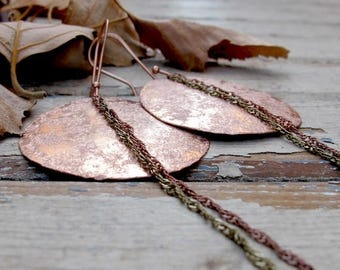 ON SALE Full Moon Eclipse - Textured Copper Earrings - Artisan Tangleweeds Jewelry