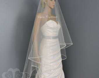 "1/4"" Horsehair Trim Wedding Veil , Bridal Veil, Blush, White, Ivory, Light Ivory, Off White,Champagne,Blue"