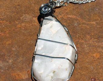 Desert Magick~Raw White Desert Quartz in Steel Wire Wrap with Lava Stone Accent
