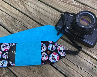 Monogrammed Camera Strap For DSL in Sugar Skull Print With Turquose Reverse and Lens Cap Pocket