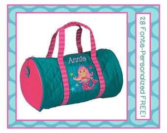 28 Fonts- Personalized MERMAID Girl's Quilted Dance DUFFLE BAG by Stephen Joseph Monogrammed Free!