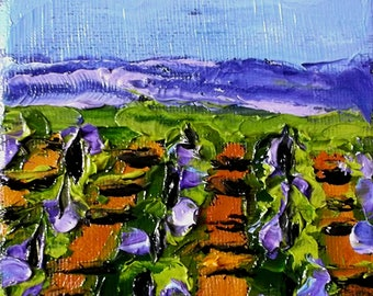 Miniature Impressionist Painting 4x4 Plein Air California Landscape TEMECULA VINEYARD Winery Lynne French