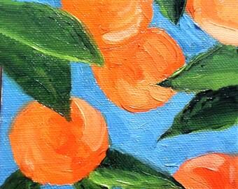 Miniature Impressionist Painting 4x4 Plein Air Florida Orange Grove Orchard Landscape Lynne French
