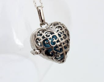 Angel caller filigree heart locket with choice of coloured chime ball- harmony bell- pregnancy necklace- Mexican Bola necklace- Silver plate