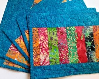 CIJ Batik Blue Placemats, Quilted, Set of 6, Handmade Fabric, Multi Colors, Orange Batik