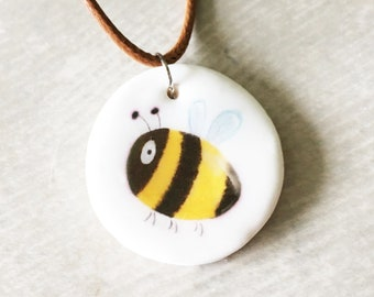 Handmade Ceramic Bee Necklace - Pendant - Illustrated Jewellery - Clay Pendant - Bumble Bee