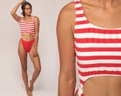 High Cut Swimsuit Vintage Monokini One Piece Bathing Suit 80s Bikini Red Striped Nautical Sailor KEYHOLE 1980s Swim Retro Extra Small xs