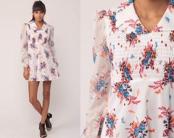 Floral Babydoll Dress 70s Puff Sleeve Mini Smocked Boho Empire Waist Mod 1970s BOHEMIAN Hippie Vintage Minidress White Small