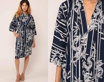 Kimono Robe Jacket BAMBOO DRAGON Asian Cotton 90s Bohemian Wrap Belted Vintage Boho Hippie Festival Dressing Gown Blue Small Medium Large