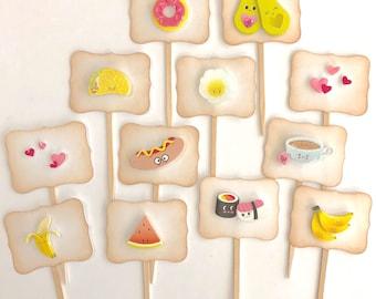 Kawaii food cupcake toppers. Donuts. Hearts. Valentine party supplies. Avocados. Egg. Taco. Hot Dog. Sushi. Bananas. Watermelon. Coffee.
