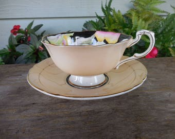 Vintage Paragon Bone China Pansy Cup and Saucer