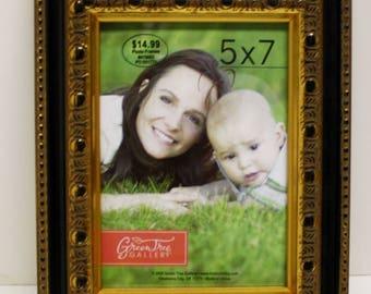 "5"" x 7"" Black & Gold Ornate Photo Frame,New old stock,Never used,Tabletop photo frame,wedding,graduation,family,baby,award"