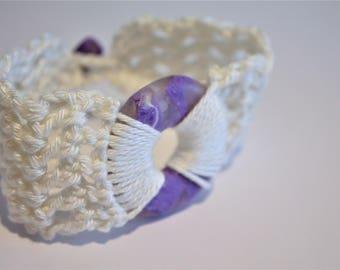 Purple Polymer Clay Crochet Bracelet