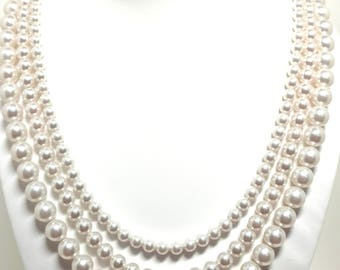 Triple strand pearl and crystal necklace made with Swarovski Pearls