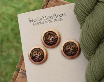 3 Red Cedar Tree Buttons- Red Cedar Wood- Wooden Buttons- Eco Craft Supplies, Eco Knitting Supplies, Eco Sewing Supplies