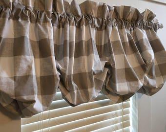 Taupe and Cream Buffalo Check Balloon Curtain With No Ruffles