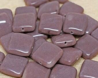 20% OFF LOOSE Gemstone Beads - Jasper 12mm Squares - Soft Plum Purple (4 beads) - Gem1100