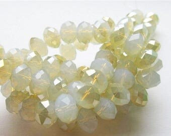 20% OFF LOOSE Glass Crystal Beads - 8x12mm Rondelles - Opaque White Opal with Pale Gold (5 beads) - gla454