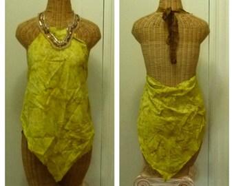 Batik Halter Top Size Medium Tie Dye Yellow, Gold Bohemian Tribal Gypsy Fairy Festival Hippie Boho Applique Sari Silk Womens Teens