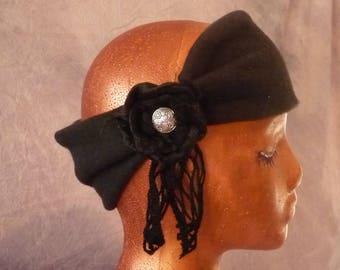 Black Fleece Headband, Ear Warmers, Lattice Yarn, Hippie, Rosette, Ski, Boho, One Size, Warm, Winter