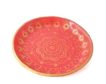 Red Ring Dish - Jewellery Holder - Mandala Home Decor - Trinket Bowl - Ring Holder - Coin Tray, Gifts for Home, Gift for Her, Gifts Under 15