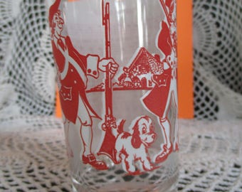 Vintage Art Deco Yankee Doodle Song Drinking  Glass