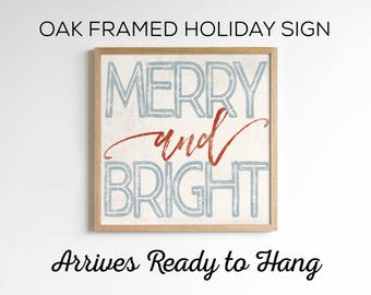 Merry & Bright - Holiday Sign - Wood Holiday Sign - Rustic Country Home Christmas Decor