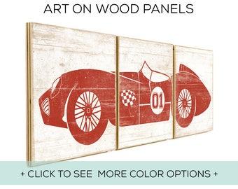 Race Car Boys Room - Racing - Old Car - Nursery Decor - Kids Playroom - Car Wall Decor Boy - Car Print - Car Decor - Race Car Sign