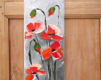 Rythmes Energiques : figurativ floral oil painting poppies