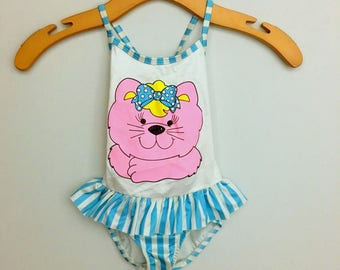 Vintage Baby Girls PINK KITTY Swimsuit / Little Girls Blue And White One Piece Bathing Suit Size 3T