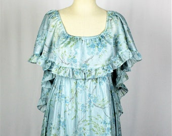 1970s Vintage Blue Floral Prom Dress. Nature Inspired Cape Back Gown