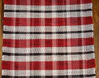 Handwoven Rag Rug - Black, White, Red (Inv. ID#04-0171)