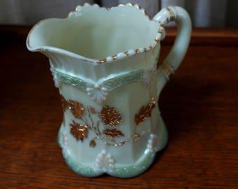 Vintage Custard Glass Creamer Chrysanthemum Sprig Pattern Northwood Enameled EAPG 1888 Gold Green Pink
